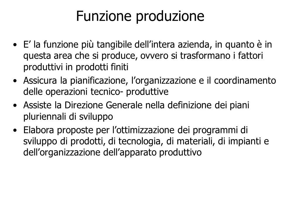 Funzione produzione E la funzione più tangibile dellintera azienda, in quanto è in questa area che si produce, ovvero si trasformano i fattori produtt