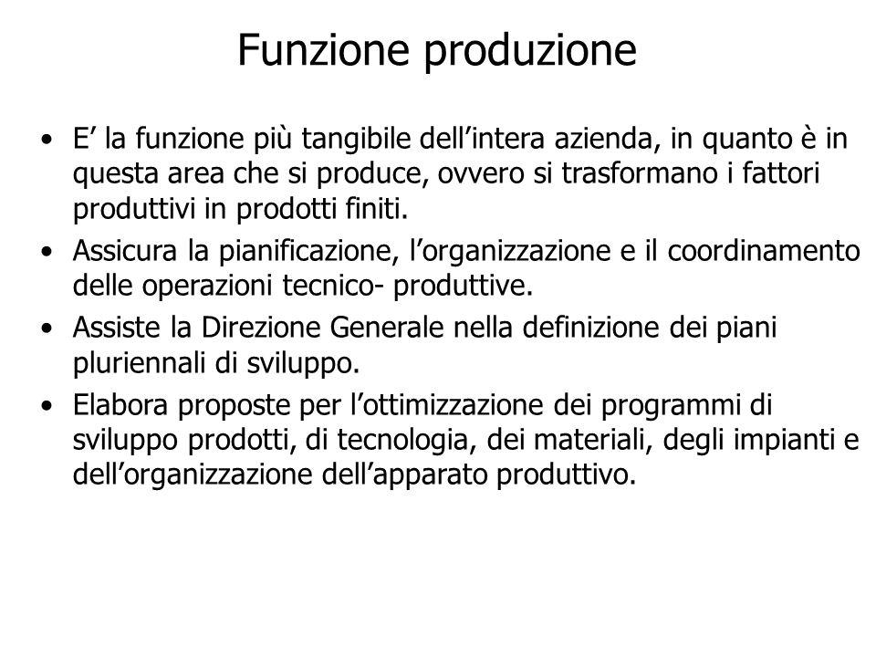 E la funzione più tangibile dellintera azienda, in quanto è in questa area che si produce, ovvero si trasformano i fattori produttivi in prodotti fini