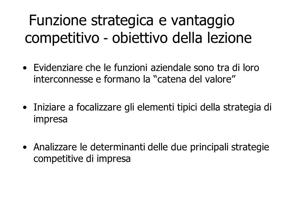 Funzione strategica e vantaggio competitivo Per limpresa la strategia deve identificare e risolvere le questioni connesse alla creazione ed al mantenimento di un vantaggio competitivo rispetto ai propri concorrenti.