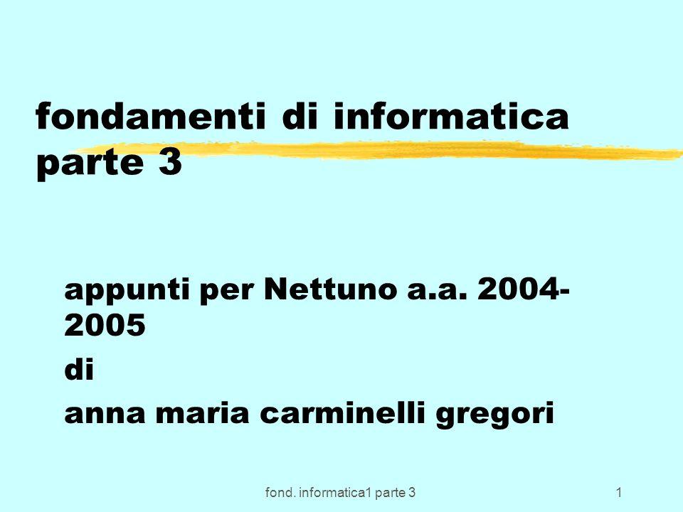 fond. informatica1 parte 31 fondamenti di informatica parte 3 appunti per Nettuno a.a.