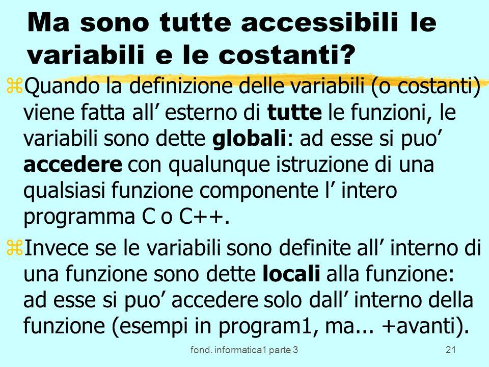 fond. informatica1 parte 321 Ma sono tutte accessibili le variabili e le costanti.