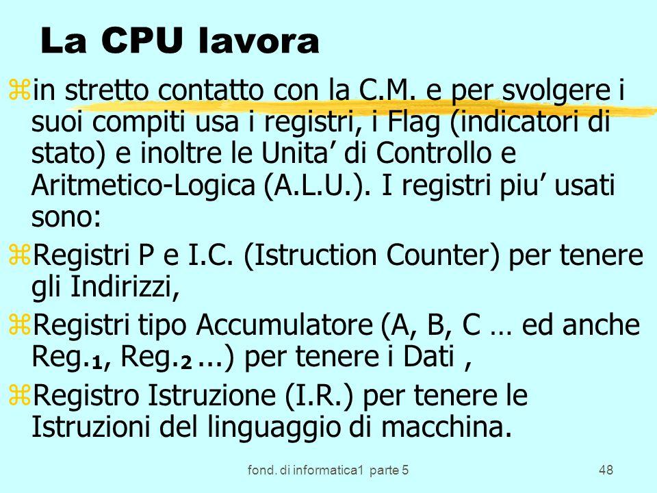fond. di informatica1 parte 548 La CPU lavora zin stretto contatto con la C.M.