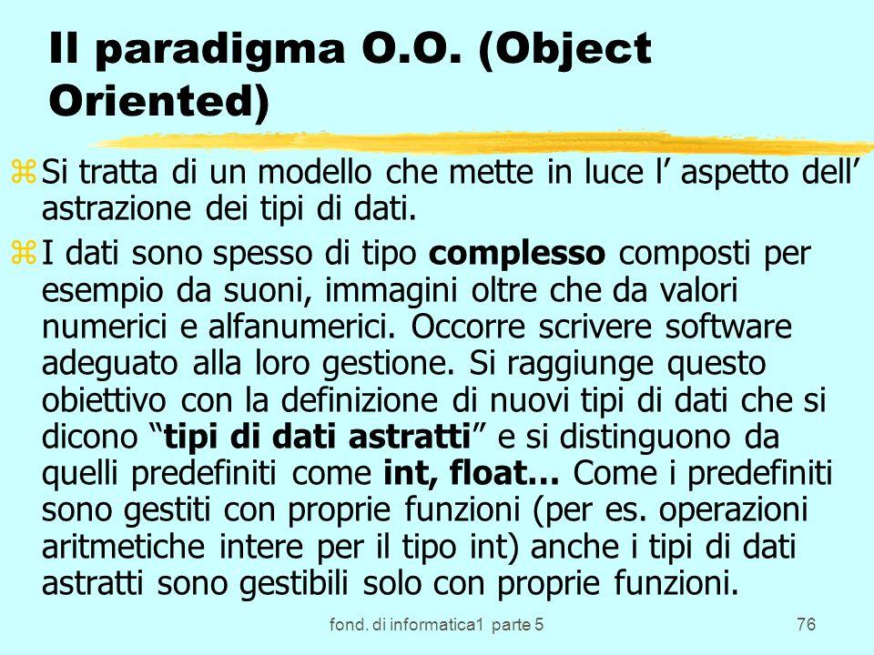 fond. di informatica1 parte 576 Il paradigma O.O.