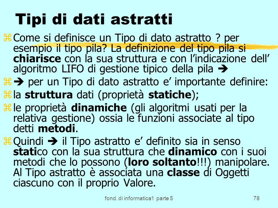 fond. di informatica1 parte 578 Tipi di dati astratti zCome si definisce un Tipo di dato astratto .