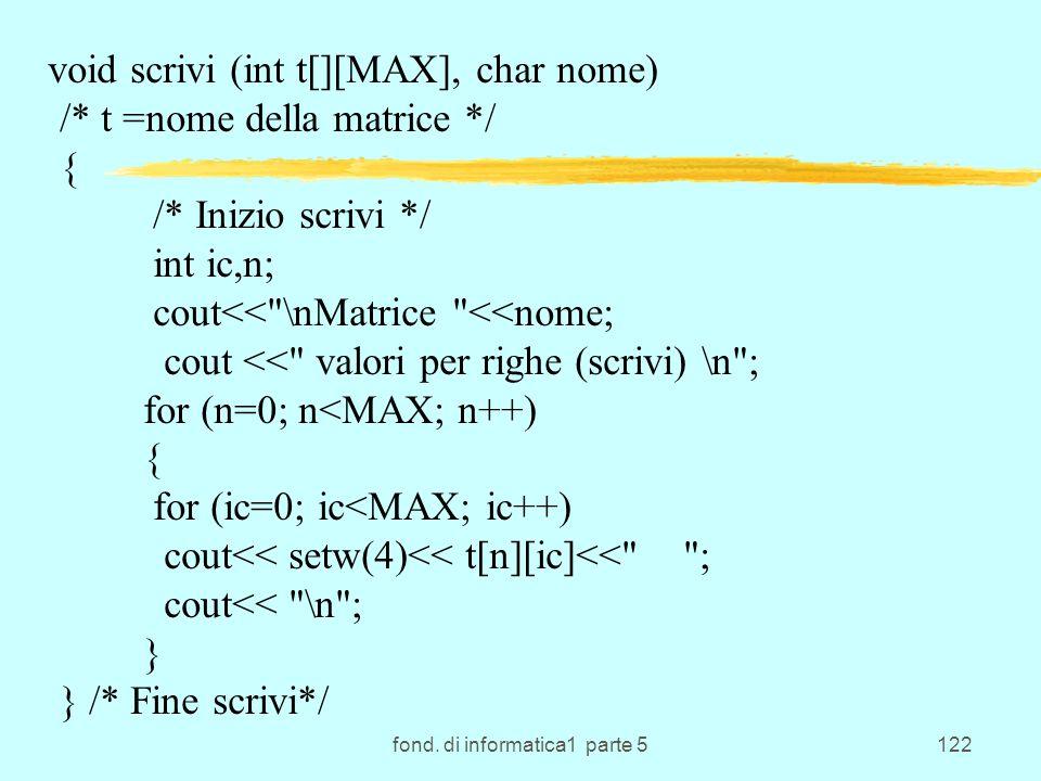 fond. di informatica1 parte 5122 void scrivi (int t[][MAX], char nome) /* t =nome della matrice */ { /* Inizio scrivi */ int ic,n; cout<<