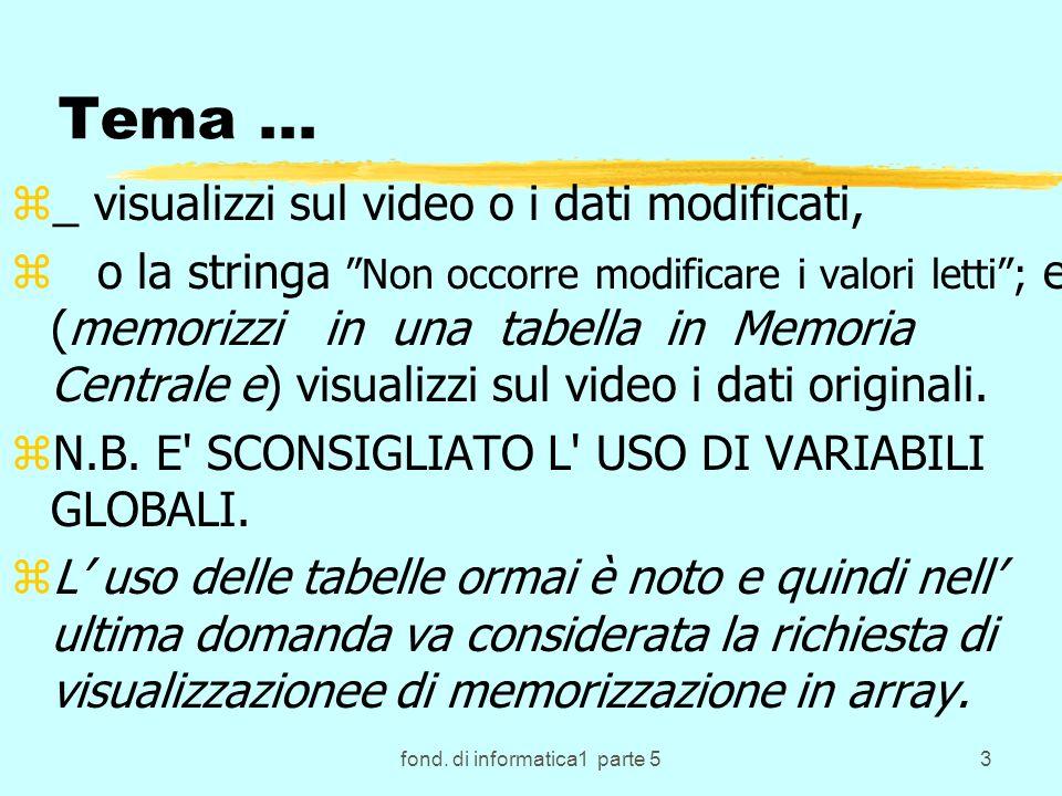 fond. di informatica1 parte 53 Tema... z_ visualizzi sul video o i dati modificati, z o la stringa Non occorre modificare i valori letti; e (memorizzi