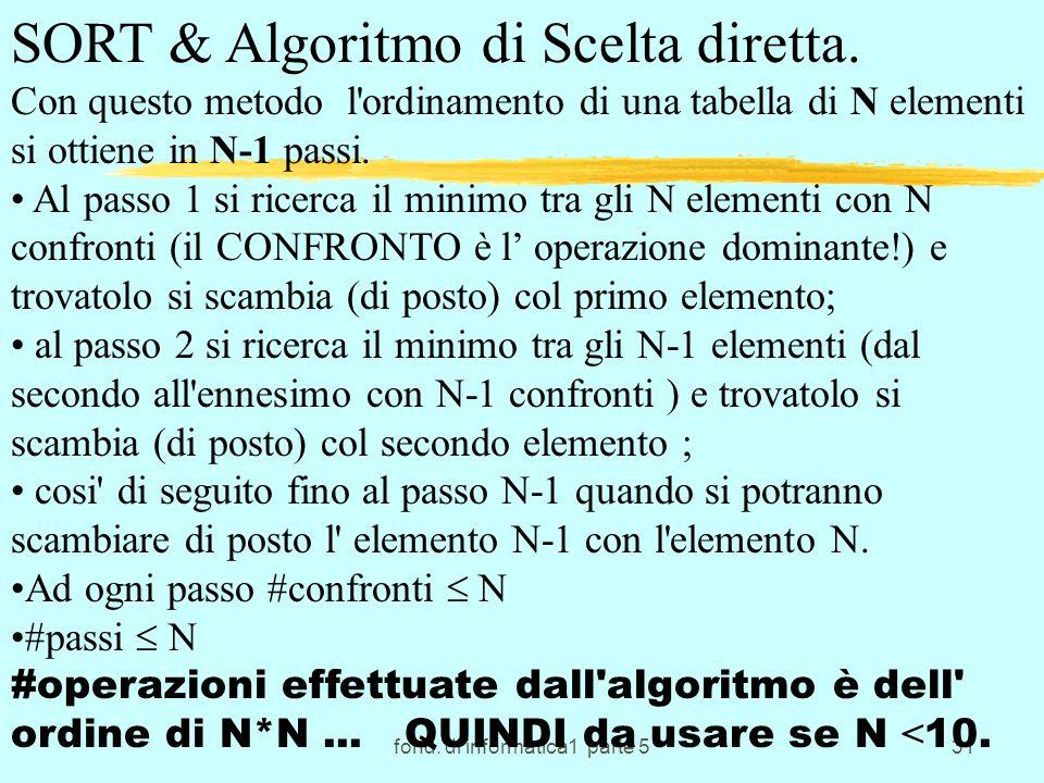fond. di informatica1 parte 531 SORT & Algoritmo di Scelta diretta. Con questo metodo l'ordinamento di una tabella di N elementi si ottiene in N-1 pas