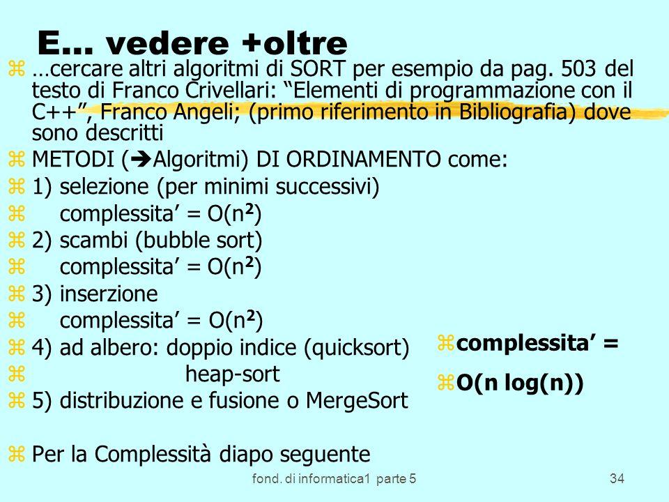 fond. di informatica1 parte 534 E… vedere +oltre z…cercare altri algoritmi di SORT per esempio da pag. 503 del testo di Franco Crivellari: Elementi di