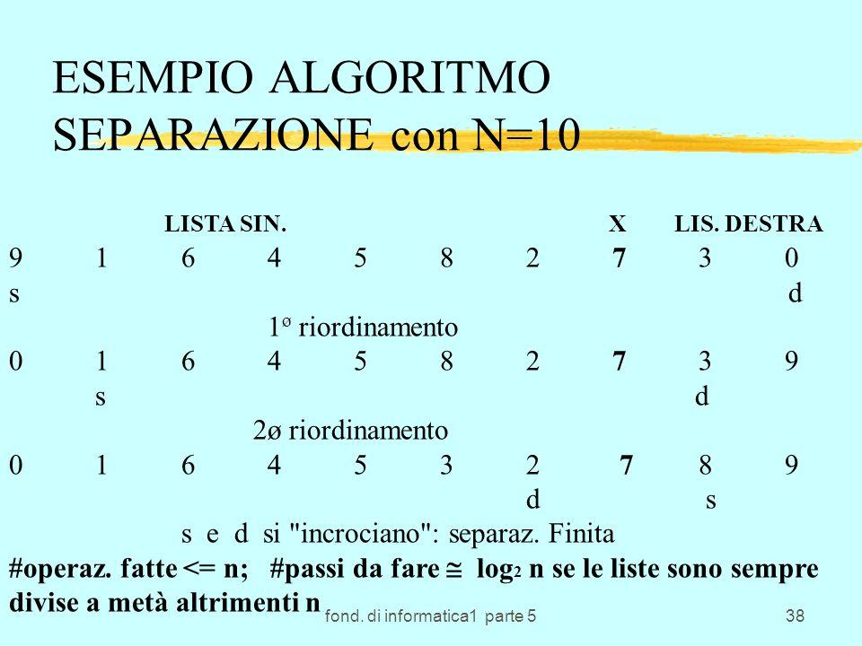 fond. di informatica1 parte 538 ESEMPIO ALGORITMO SEPARAZIONE con N=10 LISTA SIN. X LIS. DESTRA 9164582730 s d 1 ø riordinamento 0164582739 s d 2ø rio
