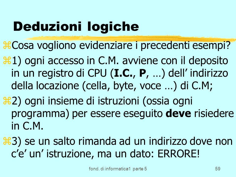 fond. di informatica1 parte 559 Deduzioni logiche zCosa vogliono evidenziare i precedenti esempi? z1) ogni accesso in C.M. avviene con il deposito in