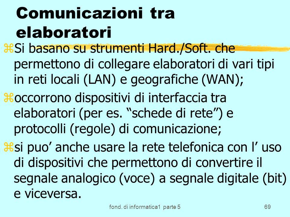 fond. di informatica1 parte 569 Comunicazioni tra elaboratori zSi basano su strumenti Hard./Soft. che permettono di collegare elaboratori di vari tipi