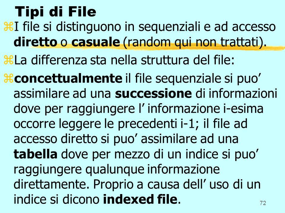 72 Tipi di File zI file si distinguono in sequenziali e ad accesso diretto o casuale (random qui non trattati). zLa differenza sta nella struttura del