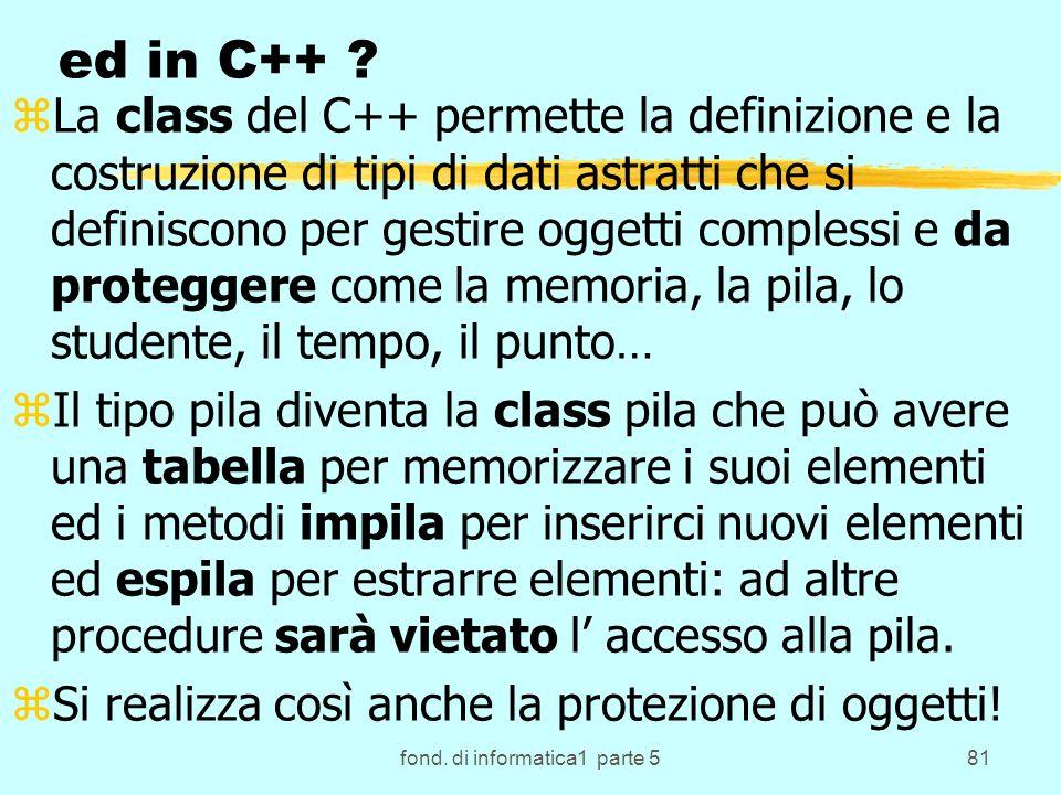fond. di informatica1 parte 581 ed in C++ ? zLa class del C++ permette la definizione e la costruzione di tipi di dati astratti che si definiscono per