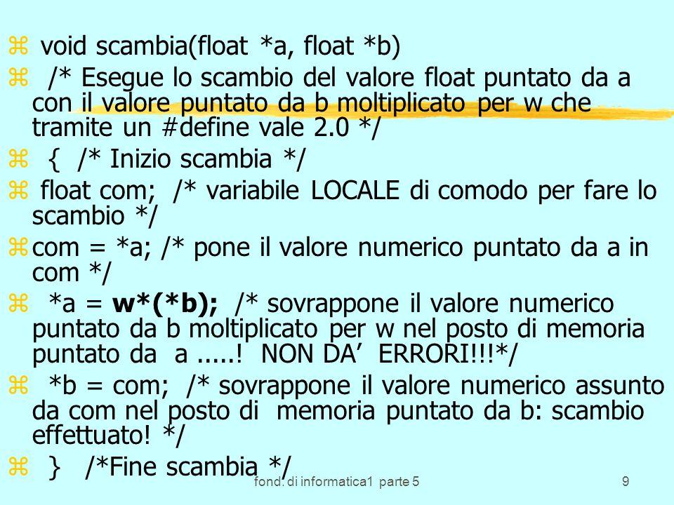 fond. di informatica1 parte 59 z void scambia(float *a, float *b) z /* Esegue lo scambio del valore float puntato da a con il valore puntato da b molt