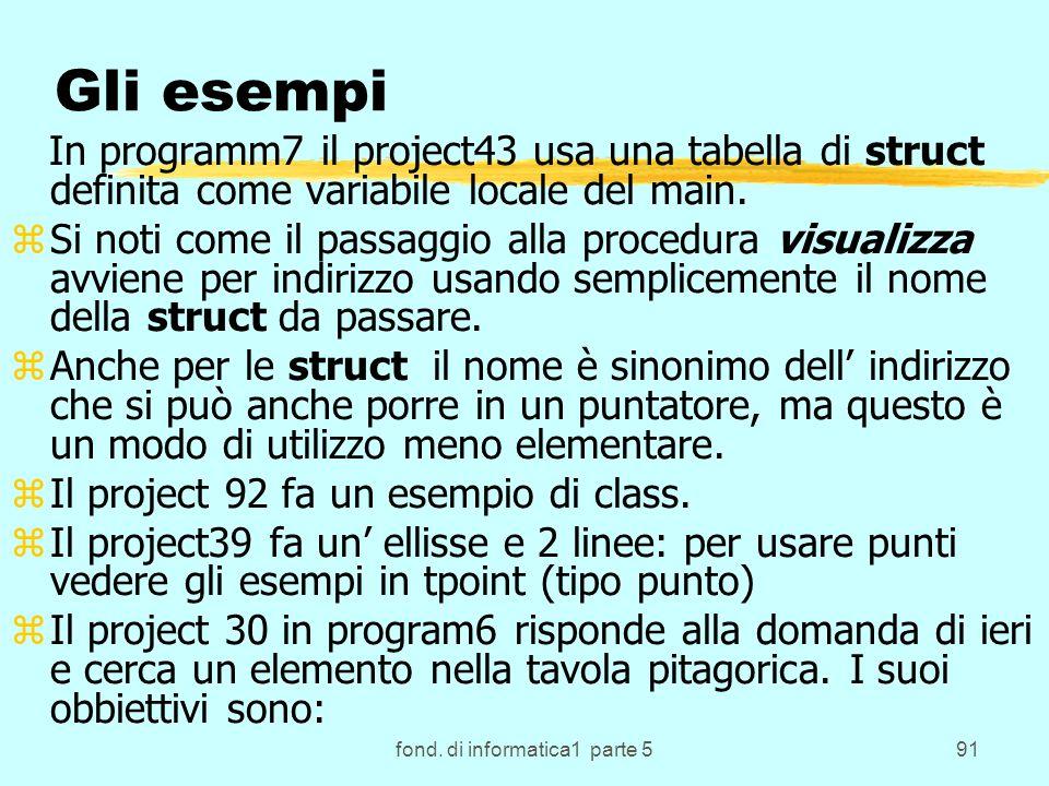 fond. di informatica1 parte 591 Gli esempi In programm7 il project43 usa una tabella di struct definita come variabile locale del main. zSi noti come