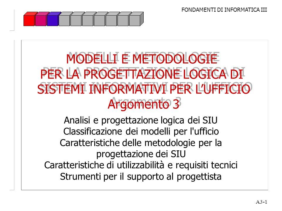 FONDAMENTI DI INFORMATICA III A3-1 MODELLI E METODOLOGIE PER LA PROGETTAZIONE LOGICA DI SISTEMI INFORMATIVI PER LUFFICIO Argomento 3 MODELLI E METODOL