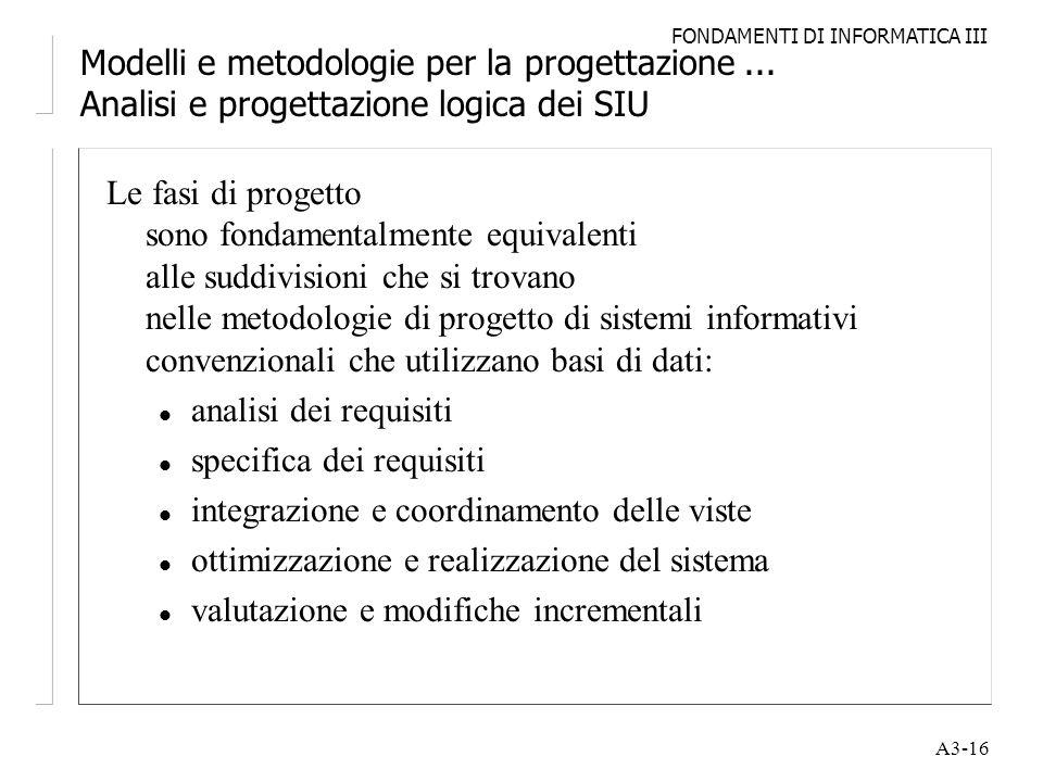 FONDAMENTI DI INFORMATICA III A3-16 Modelli e metodologie per la progettazione... Analisi e progettazione logica dei SIU Le fasi di progetto sono fond