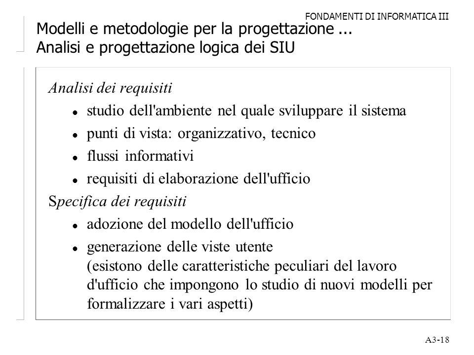 FONDAMENTI DI INFORMATICA III A3-18 Modelli e metodologie per la progettazione... Analisi e progettazione logica dei SIU Analisi dei requisiti l studi