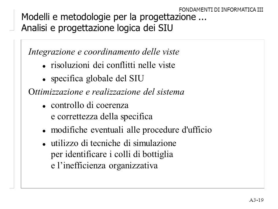FONDAMENTI DI INFORMATICA III A3-19 Modelli e metodologie per la progettazione... Analisi e progettazione logica dei SIU Integrazione e coordinamento