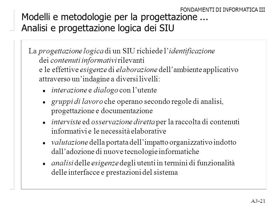 FONDAMENTI DI INFORMATICA III A3-21 Modelli e metodologie per la progettazione... Analisi e progettazione logica dei SIU La progettazione logica di un