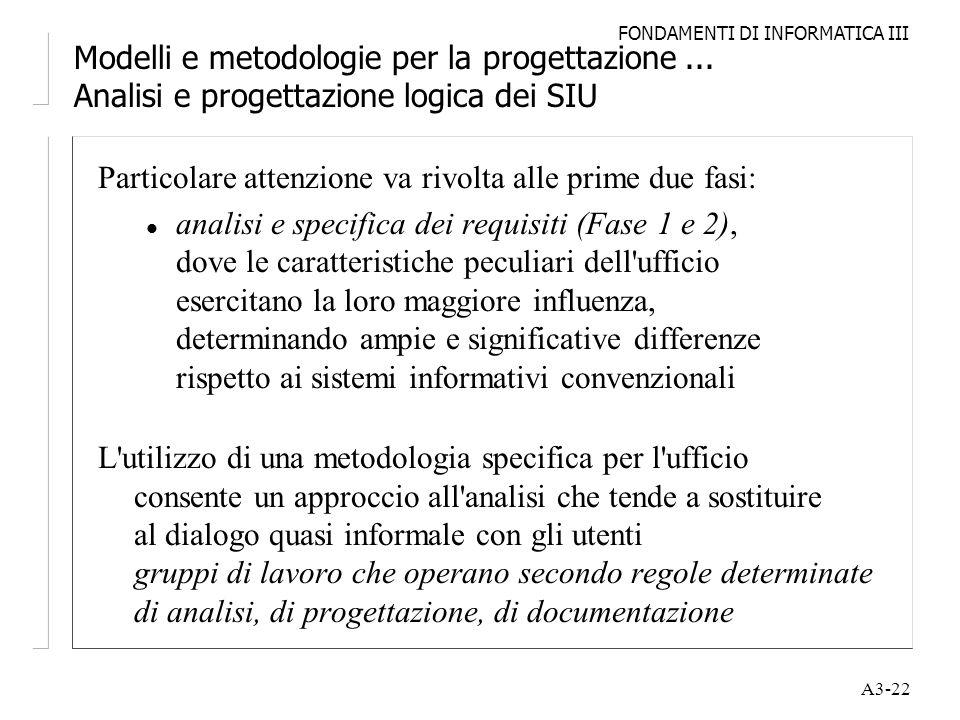 FONDAMENTI DI INFORMATICA III A3-22 Modelli e metodologie per la progettazione... Analisi e progettazione logica dei SIU Particolare attenzione va riv