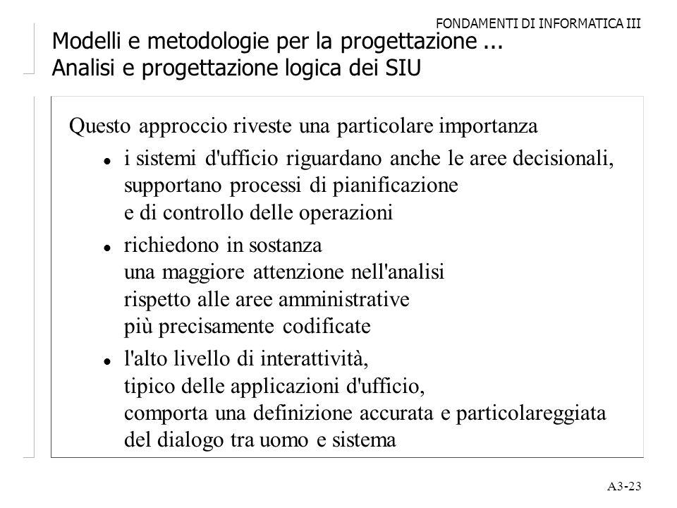 FONDAMENTI DI INFORMATICA III A3-23 Modelli e metodologie per la progettazione... Analisi e progettazione logica dei SIU Questo approccio riveste una