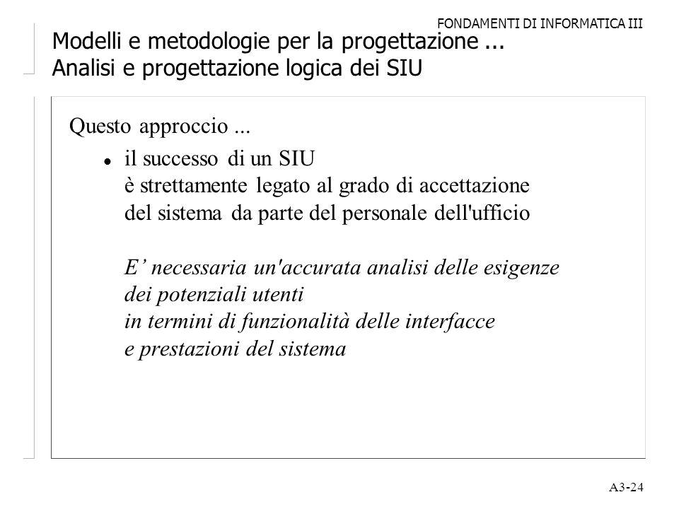 FONDAMENTI DI INFORMATICA III A3-24 Modelli e metodologie per la progettazione... Analisi e progettazione logica dei SIU Questo approccio... l il succ
