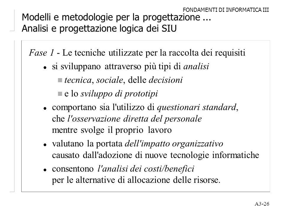 FONDAMENTI DI INFORMATICA III A3-26 Modelli e metodologie per la progettazione... Analisi e progettazione logica dei SIU Fase 1 - Le tecniche utilizza
