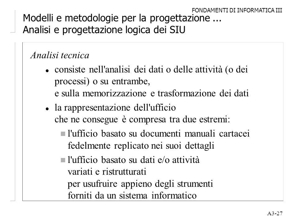 FONDAMENTI DI INFORMATICA III A3-27 Modelli e metodologie per la progettazione... Analisi e progettazione logica dei SIU Analisi tecnica l consiste ne