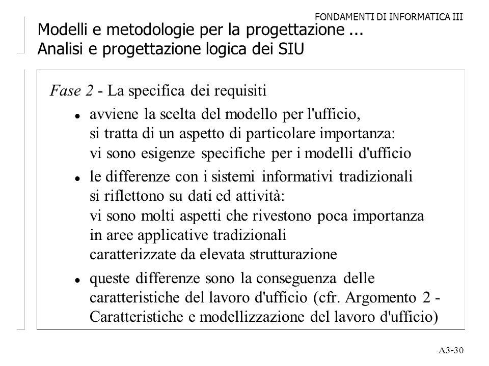 FONDAMENTI DI INFORMATICA III A3-30 Modelli e metodologie per la progettazione... Analisi e progettazione logica dei SIU Fase 2 - La specifica dei req