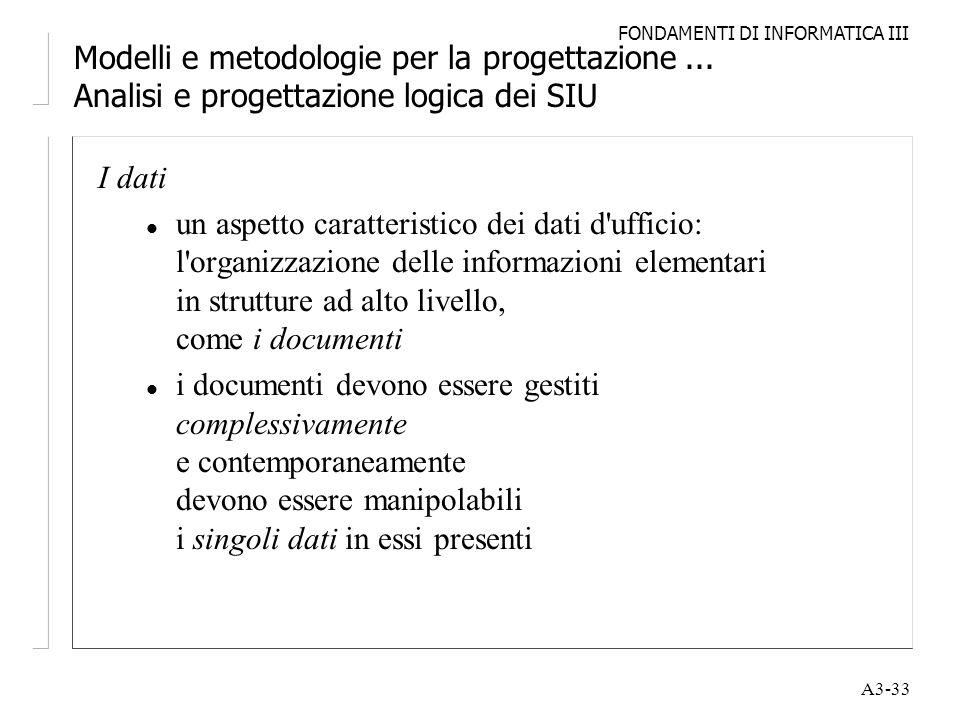 FONDAMENTI DI INFORMATICA III A3-33 Modelli e metodologie per la progettazione... Analisi e progettazione logica dei SIU I dati l un aspetto caratteri