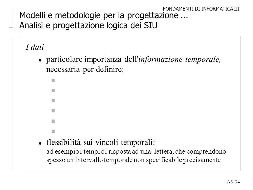 FONDAMENTI DI INFORMATICA III A3-34 Modelli e metodologie per la progettazione... Analisi e progettazione logica dei SIU I dati l particolare importan