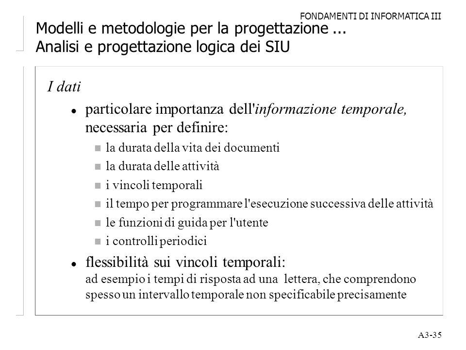 FONDAMENTI DI INFORMATICA III A3-35 Modelli e metodologie per la progettazione... Analisi e progettazione logica dei SIU I dati l particolare importan