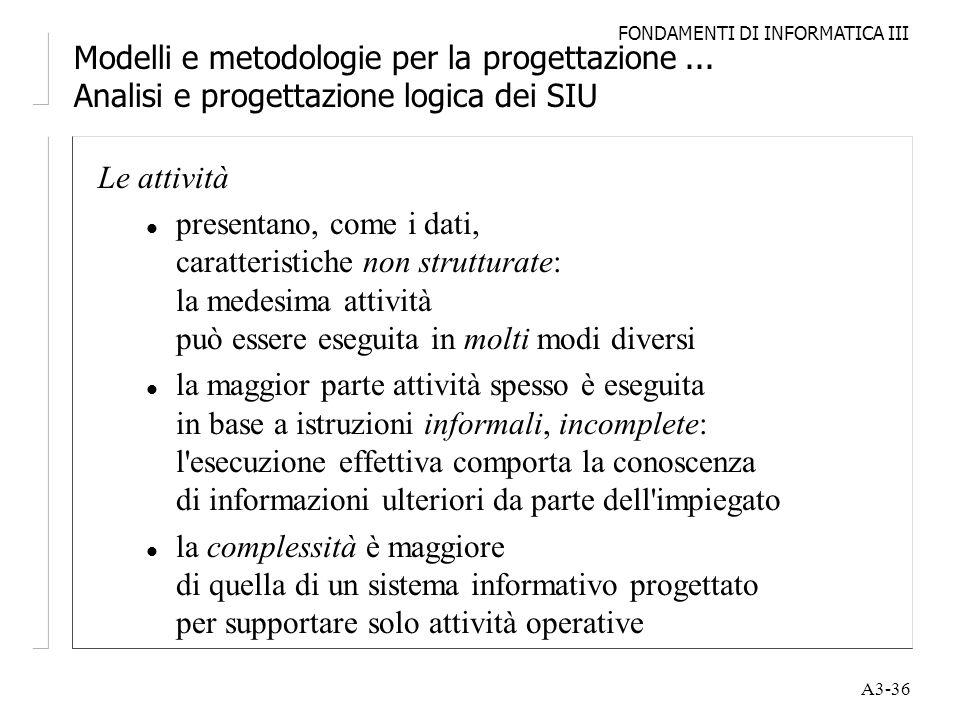 FONDAMENTI DI INFORMATICA III A3-36 Modelli e metodologie per la progettazione... Analisi e progettazione logica dei SIU Le attività l presentano, com