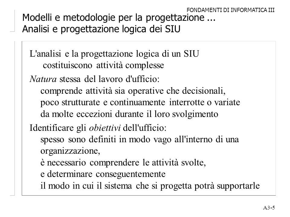 FONDAMENTI DI INFORMATICA III A3-5 Modelli e metodologie per la progettazione... Analisi e progettazione logica dei SIU L'analisi e la progettazione l