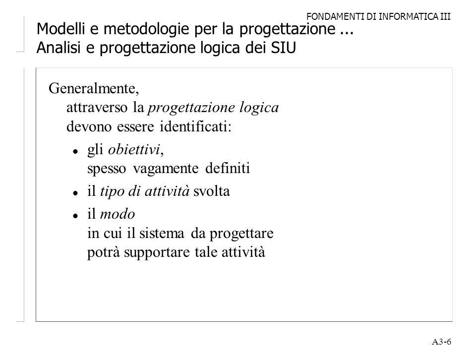 FONDAMENTI DI INFORMATICA III A3-6 Modelli e metodologie per la progettazione... Analisi e progettazione logica dei SIU Generalmente, attraverso la pr