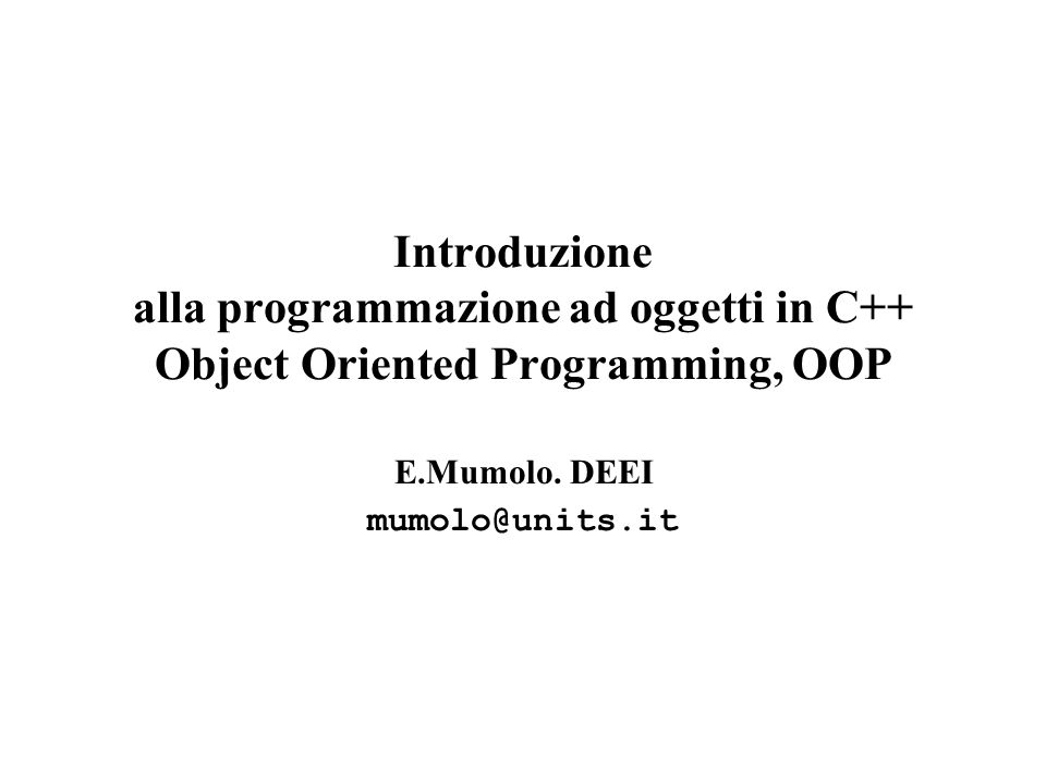62 numeri complessi //oop35.cpp #include class complesso { private: float pr, pi; public: complesso(){pr=0;pi=0;}//costruttore di default complesso(float x,float y); //altro costruttore void cadd(complesso arg);//operazione binaria void csub(complesso arg);//operazione binaria void cmult(complesso arg); void visualizza(); }; // definizione funzioni complesso::complesso(float x, float y) { pr=x; pi=y; } void complesso::cadd(complesso arg) { pr+=arg.pr; pi+=arg.pi; } void complesso::csub(complesso arg) { pr-=arg.pr; pi-=arg.pi; } void complesso::cmult(complesso arg) { float temp1, temp2; temp1=pr*arg.pr - pi*arg.pi; temp2=pr*arg.pi + pi*arg.pr; pr=temp1; pi=temp2; }