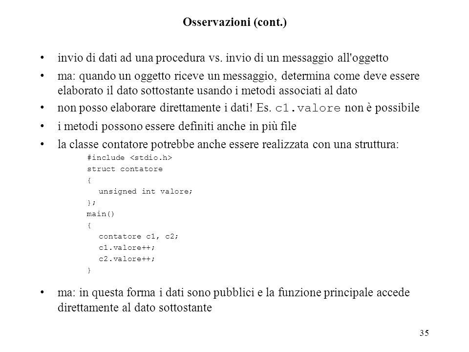35 Osservazioni (cont.) invio di dati ad una procedura vs. invio di un messaggio all'oggetto ma: quando un oggetto riceve un messaggio, determina come