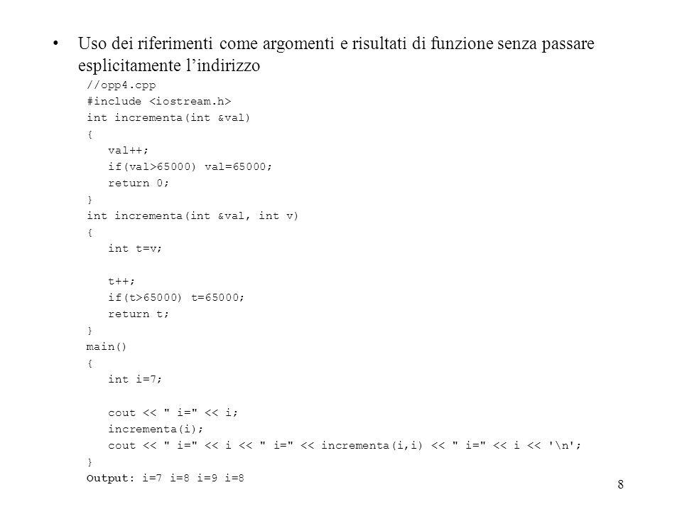 59 Overloading degli operatori ridefinizione di simboli del linguaggio notazione infissa anche fra tipi diversi limiti: solo operatori gia definiti loperatore che viene ridefinito conserva le sue caratteristiche di associativita, precedenza e numero di argomenti almeno uno degli argomenti deve essere di tipo classe non si possono usare operatori che non hanno significato in C (es.