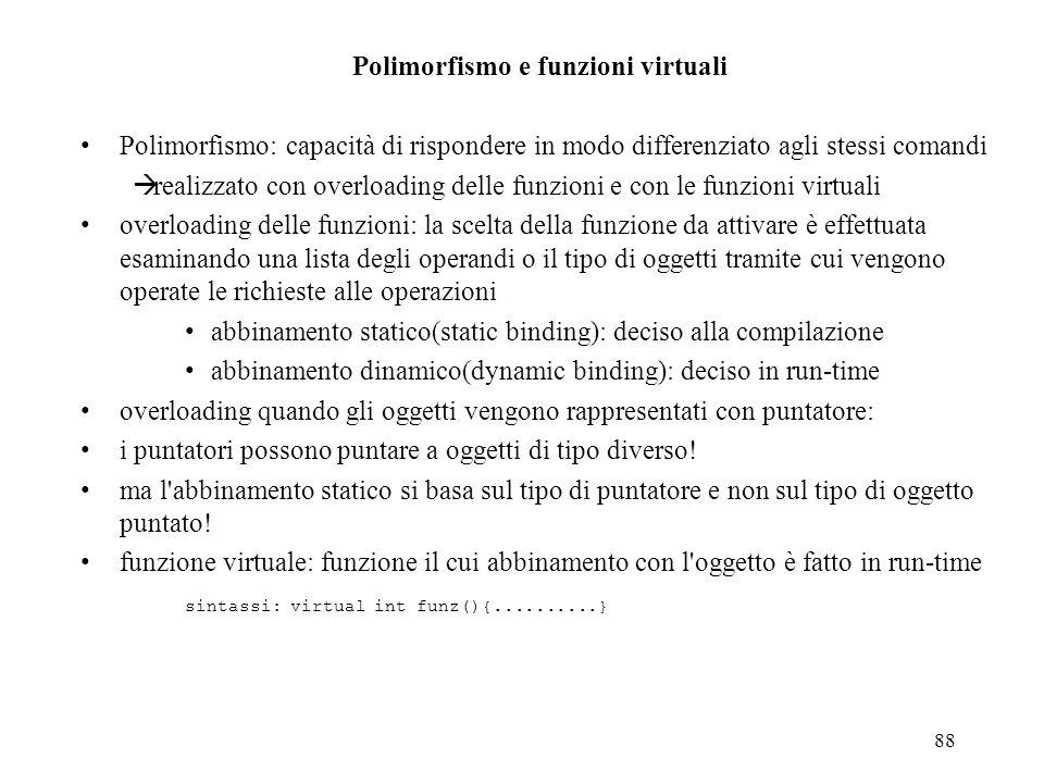 88 Polimorfismo e funzioni virtuali Polimorfismo: capacità di rispondere in modo differenziato agli stessi comandi realizzato con overloading delle fu