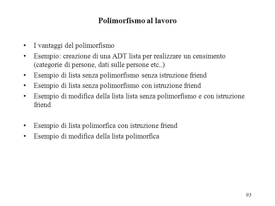 93 Polimorfismo al lavoro I vantaggi del polimorfismo Esempio: creazione di una ADT lista per realizzare un censimento (categorie di persone, dati sul