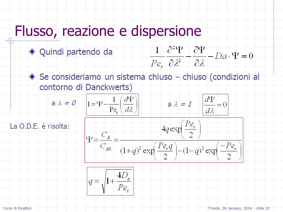 Corso di ReattoriTrieste, 28 January, 2014 - slide 32 Flusso, reazione e dispersione Quindi partendo da Se consideriamo un sistema chiuso – chiuso (co