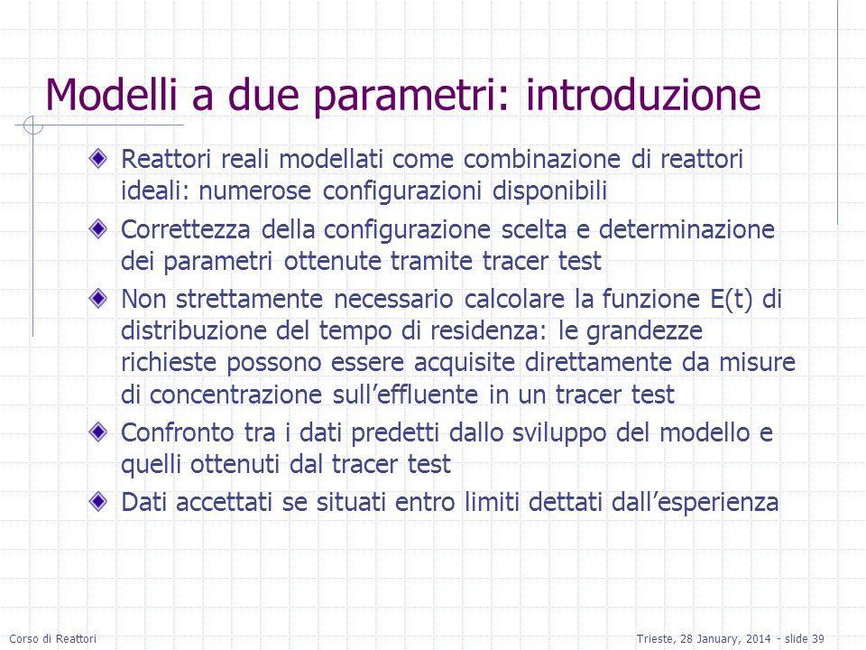 Corso di ReattoriTrieste, 28 January, 2014 - slide 39 Modelli a due parametri: introduzione Reattori reali modellati come combinazione di reattori ide