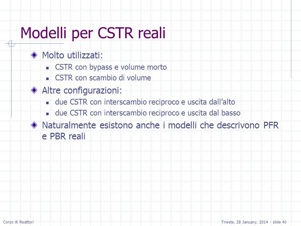 Corso di ReattoriTrieste, 28 January, 2014 - slide 40 Modelli per CSTR reali Molto utilizzati: CSTR con bypass e volume morto CSTR con scambio di volu