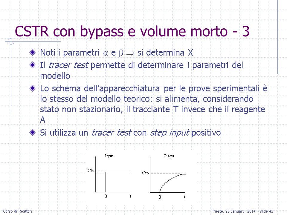 Corso di ReattoriTrieste, 28 January, 2014 - slide 43 CSTR con bypass e volume morto - 3 Noti i parametri e si determina X Il tracer test permette di