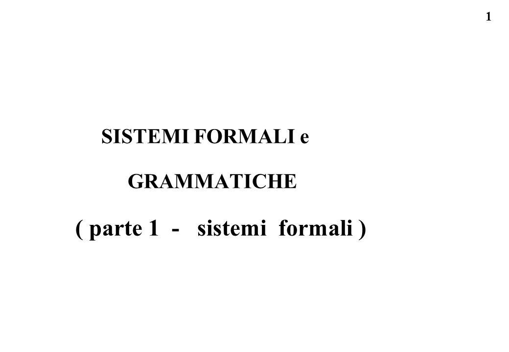 52 sistemi formali: derivabilita continua I41b) parentesi ben formate A = { (,) } B = { ( ) } P = { p1: s -> ( s ); p2: s -> s s; p3: s ( ) t -> s t } Esercizio: posso derivare la stringa vuota.