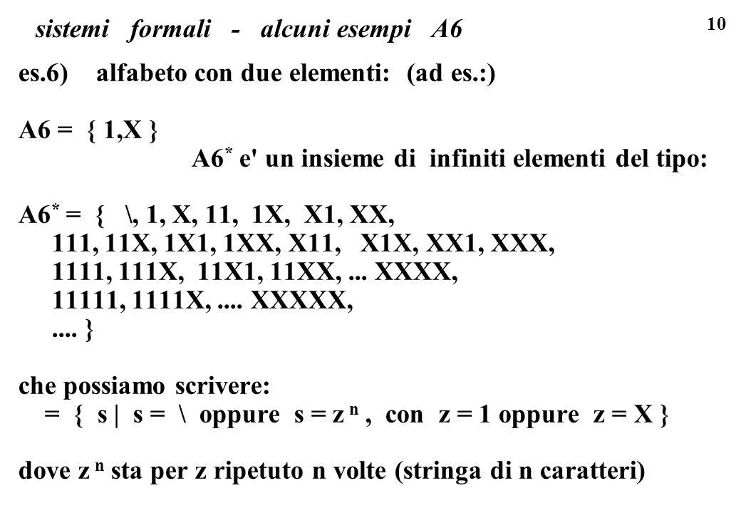 10 sistemi formali - alcuni esempi A6 es.6) alfabeto con due elementi: (ad es.:) A6 = { 1,X } A6 * e un insieme di infiniti elementi del tipo: A6 * = { \, 1, X, 11, 1X, X1, XX, 111, 11X, 1X1, 1XX, X11, X1X, XX1, XXX, 1111, 111X, 11X1, 11XX,...