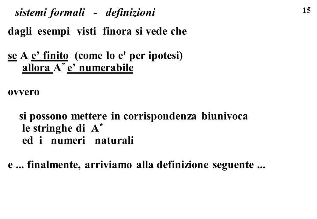 15 sistemi formali - definizioni dagli esempi visti finora si vede che se A e finito (come lo e per ipotesi) allora A * e numerabile ovvero si possono mettere in corrispondenza biunivoca le stringhe di A * ed i numeri naturali e...