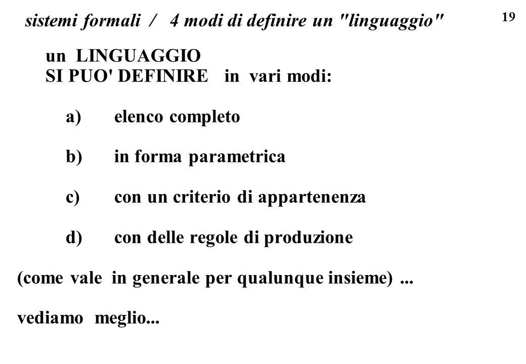 19 sistemi formali / 4 modi di definire un linguaggio un LINGUAGGIO SI PUO DEFINIRE in vari modi: a)elenco completo b)in forma parametrica c)con un criterio di appartenenza d)con delle regole di produzione (come vale in generale per qualunque insieme)...
