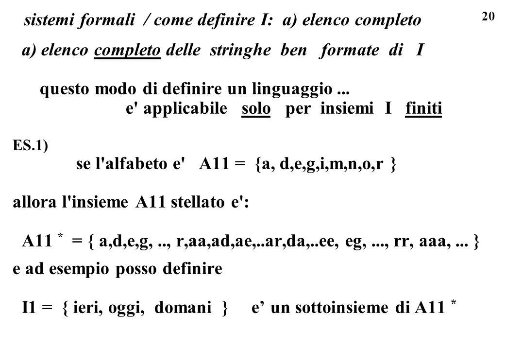 20 sistemi formali / come definire I: a) elenco completo a) elenco completo delle stringhe ben formate di I questo modo di definire un linguaggio...